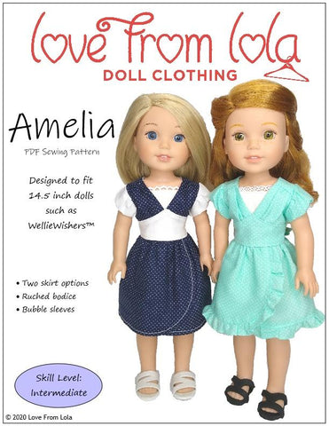 "Love From Lola WellieWishers Amelia Dress  14.5"" Doll Clothes Pattern Pixie Faire"