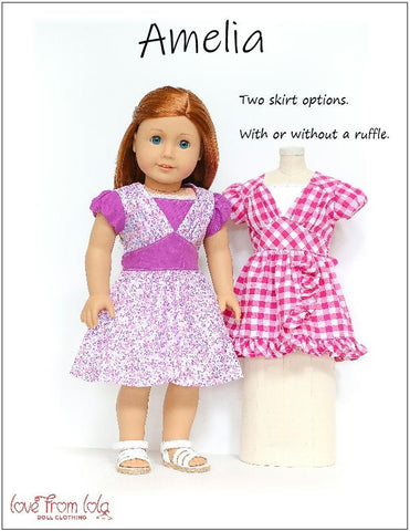 "Amelia Dress 18"" Doll Clothes Pattern"