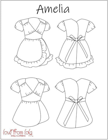 "Amelia Dress  14.5"" Doll Clothes Pattern"