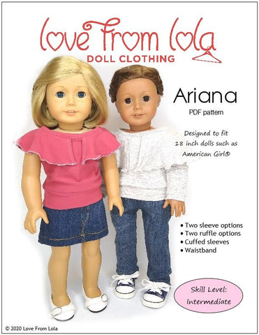 "Ariana 18"" Doll Clothes Pattern"