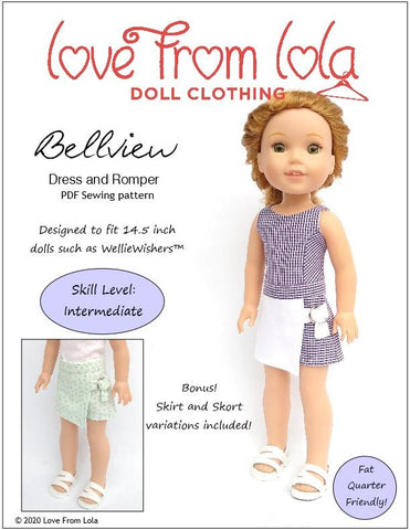 "Bellview Dress and Romper 14.5"" Doll Clothes Pattern"