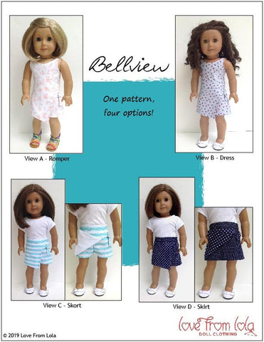 "Love From Lola 18 Inch Modern Bellview Dress and Romper 18"" Doll Clothes Pattern Pixie Faire"