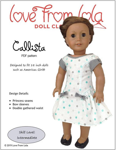 "Callista Dress 18"" Doll Clothes Pattern"