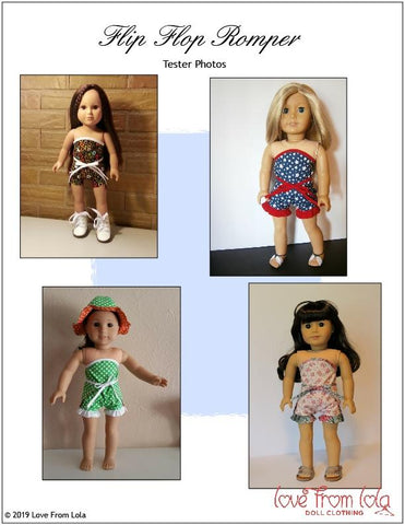 "Flip Flop Romper 18"" Doll Clothes Pattern"