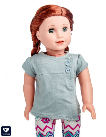 "Love From Lola 18 Inch Modern The Lucy Shirt 18"" Doll Clothes Pattern Pixie Faire"