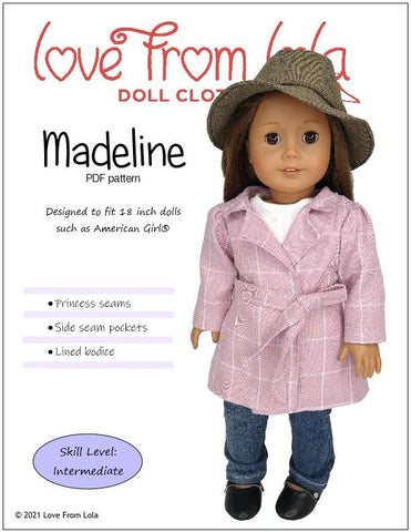 "Madeline 18"" Doll Clothes Pattern"