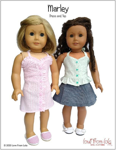 "Marley Dress and Top 18"" Doll Clothes Pattern"