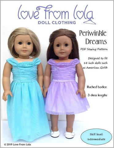 "Love From Lola 18 Inch Modern Periwinkle Dreams 18"" Doll Clothes Pattern Pixie Faire"