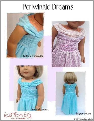 "Periwinkle Dreams 18"" Doll Clothes Pattern"