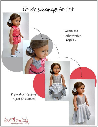 "Quick Change Artist 18"" Doll Clothes Pattern"