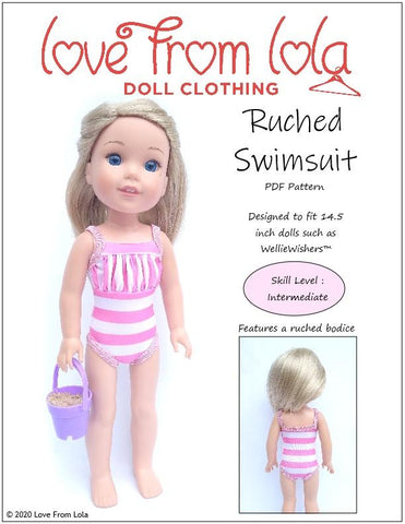 "Ruched Swimsuit 14.5"" Doll Clothes Pattern"