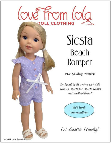 Love From Lola Siesta Beach Romper Doll Clothes Pattern Fits Welliewishers Dolls