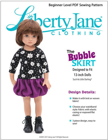 Bubble Skirt Doll Clothes Pattern For Little Darling Dolls