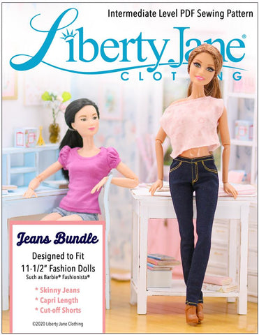 "Jeans Bundle Pattern For 11-1/2"" Fashion Dolls"