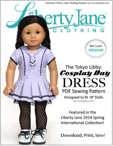 "Liberty Jane 18 Inch Modern Cosplay Day Dress 18"" Doll Clothes Pattern Pixie Faire"