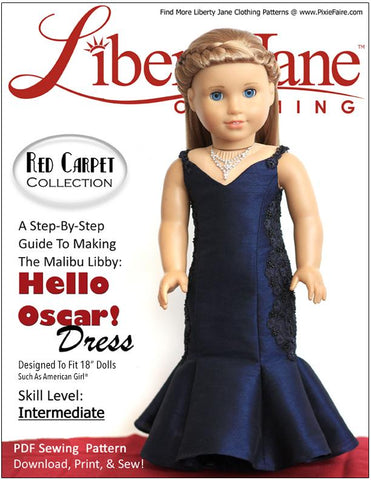 "Liberty Jane 18 Inch Modern Hello Oscar Dress 18"" Doll Clothes Pattern Pixie Faire"