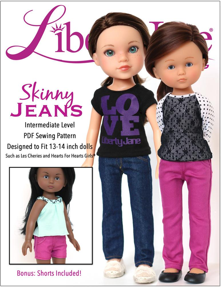 """Doll Clothes fits 18/"""" American Girl Heart Pocket Skinny Jeans Detailed Stitching"""