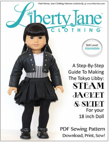 "Steam Jacket & Skirt Bundle 18"" Doll Clothes Pattern"
