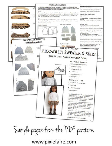 "Piccadilly Sweater and Skirt Bundle 18"" Doll Clothes Pattern"