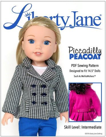 14.5 inch doll clothes pdf sewing pattern peacoat jacket designed to fit welliewishers
