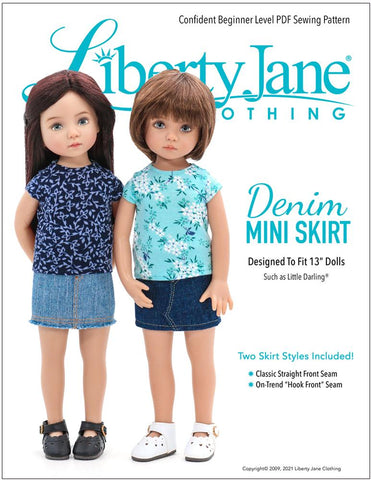 Liberty Jane Little Darling Mini Skirt Doll Clothes Pattern For Little Darling Dolls Pixie Faire
