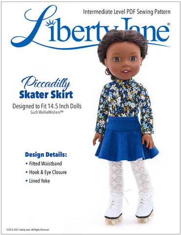 Liberty Jane WellieWishers Piccadilly Skater Skirt 14.5 Inch Doll Clothes Pattern Pixie Faire