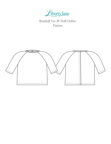 "Baseball Tee 18"" Doll Clothes Pattern"