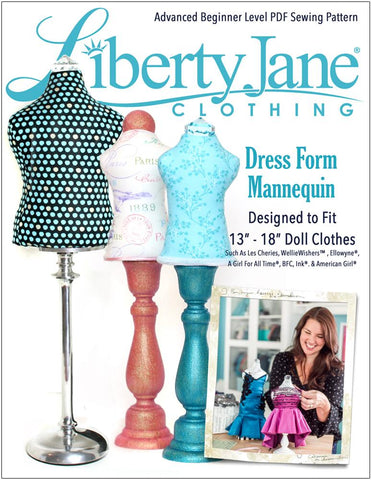 "Liberty Jane 18 Inch Modern Dress Form Bundle Set 13""-18"" Doll Accessory Pattern Pixie Faire"