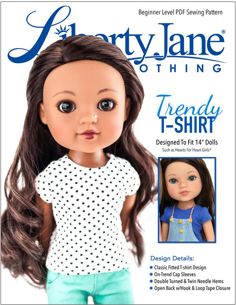 """WHITE Short Sleeve DOLL T-SHIRT fits American Girl 14.5/"""" WELLIE WISHERS DOLL"""