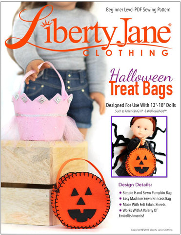 "Liberty Jane 18 Inch Modern Halloween Treat Bags 13"" - 18"" Doll Clothes Pattern Pixie Faire"