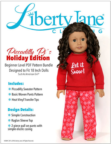 "Liberty Jane 18 Inch Modern Piccadilly Pj's 18"" Doll Clothes Pattern Pixie Faire"