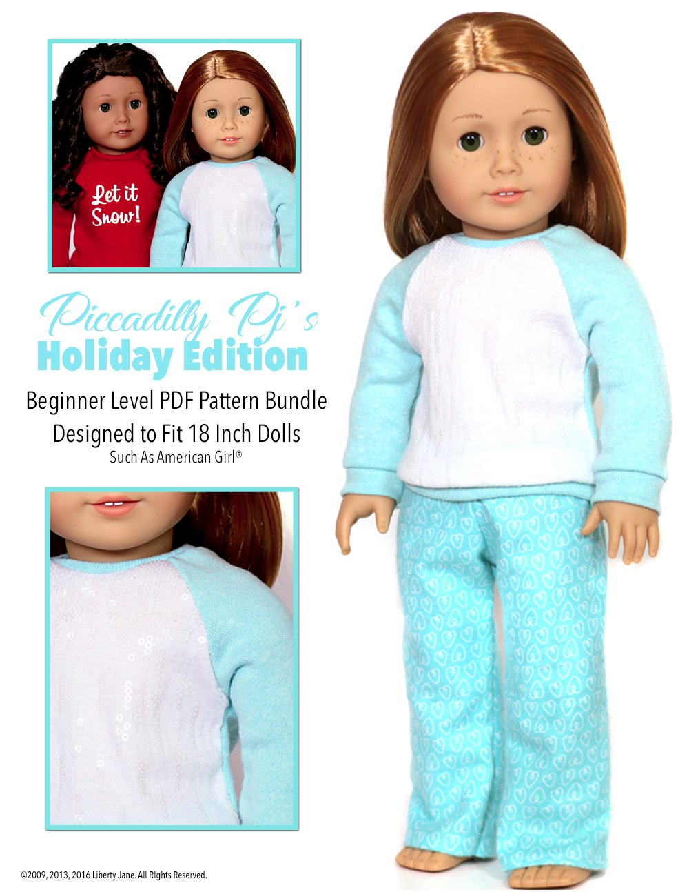 Sweet Pajamas Nightwear Top And Trousers For 18inch AG American Doll Dolls