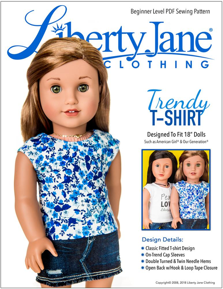 graphic relating to Free Printable 18 Inch Doll Clothes Patterns referred to as No cost T-Blouse 18 inch Doll Clothing Practice PDF Quick