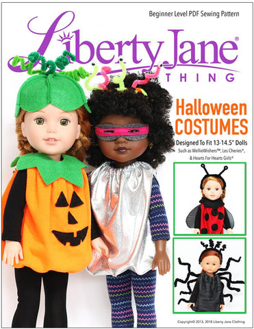 "Liberty Jane 18 Inch Modern Halloween Costumes 13"" - 14.5"" Doll Clothes Pattern Pixie Faire"