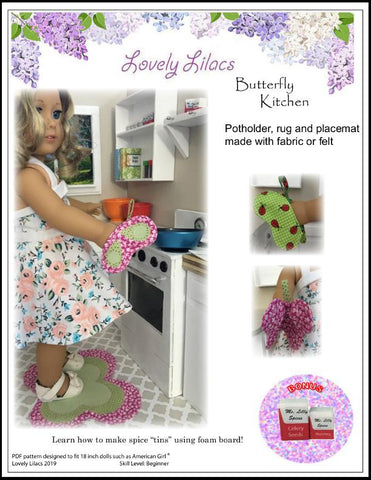 "Lovely Lilacs 18 Inch Modern Butterfly Kitchen 18"" Doll Accessory Pattern Pixie Faire"