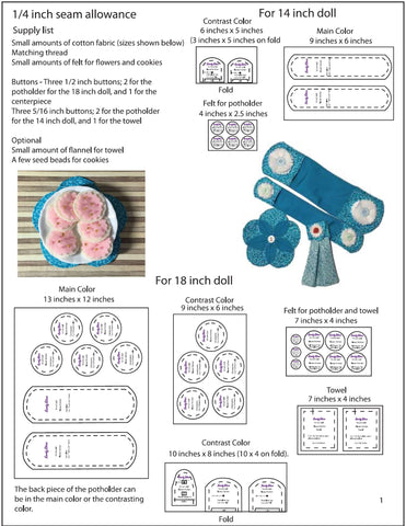 "Flower Kitchen 14"" - 18"" Doll Accessory Pattern"
