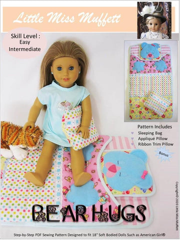 "Little Miss Muffett 18 Inch Modern Bear Hugs Sleeping Bag 18"" Doll Accessory Pattern Pixie Faire"