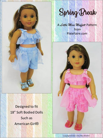 "Spring Break 18"" Doll Clothes Pattern"