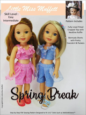 "Spring Break 14.5"" Doll Clothes Pattern"