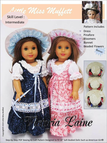 "Little Miss Muffett 18 Inch Historical Victoria Laine 18"" Doll Clothes Pattern Pixie Faire"