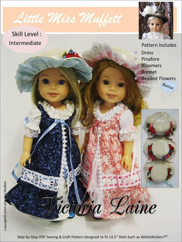"Little Miss Muffett WellieWishers Victoria Laine 14.5"" Doll Clothes Pattern Pixie Faire"