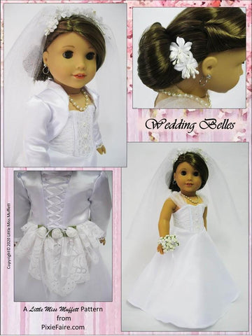 "Wedding Belles 18"" Doll Clothes Pattern"