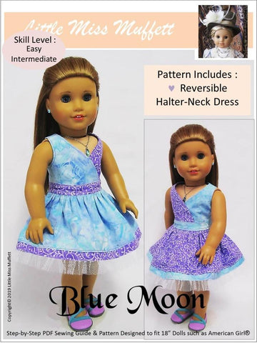 "Blue Moon Halter Dress 18"" Doll Clothes Pattern"