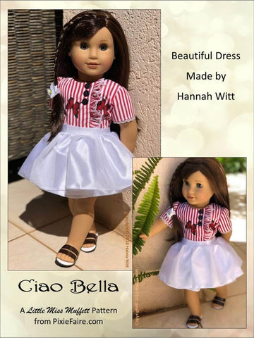 pdf doll clothes sewing pattern Little Miss Muffett Ciao Bella outfit designed to fit 18 inch American Girl dolls