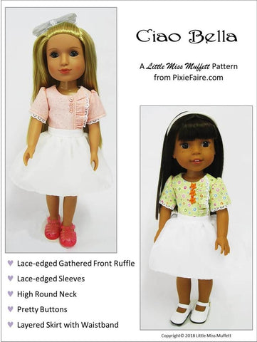 pdf doll clothes sewing pattern Little Miss Muffet Ciao Bella designed to fit 14.5 inch WellieWishers dolls
