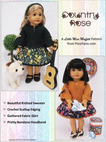 "Country Rose Dress Knitting and Sewing 18"" Doll Clothes Pattern"