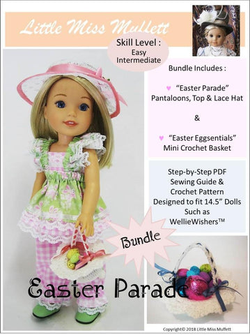"Little Miss Muffett WellieWishers Easter Parade Bundle 14.5"" Doll Clothes Pattern Pixie Faire"