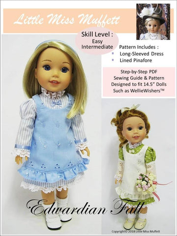 pdf doll clothes sewing pattern Little Miss Muffett Edwardian Fall for 14.5 inch WellieWishers dolls