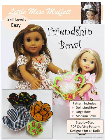 "Little Miss Muffett 18 Inch Modern Friendship Bowl 14"" to 18"" Doll Accessory Pattern Pixie Faire"