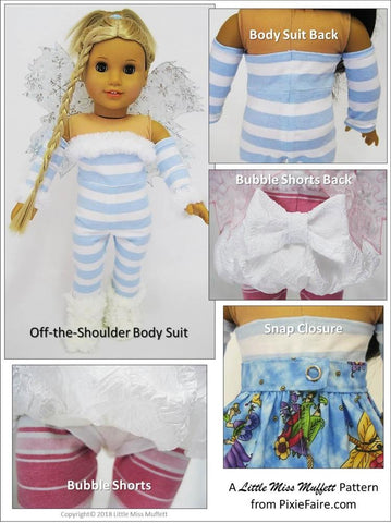 Little Miss Muffett Frost Faerie pdf doll clothes sewing pattern designed to fit 18 inch American Girl dolls
